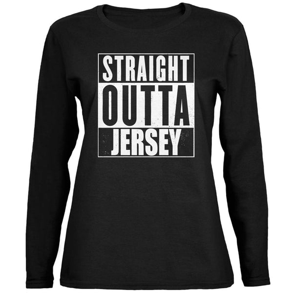 Straight Outta Jersey Black Womens Long Sleeve T-Shirt