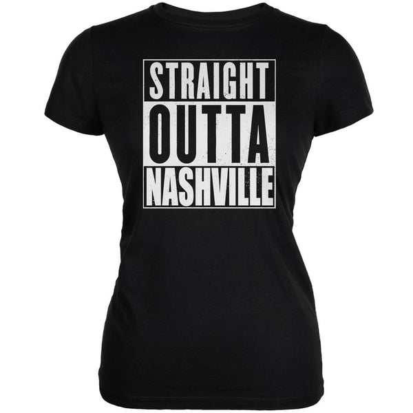 Straight Outta Nashville Black Juniors Soft T-Shirt