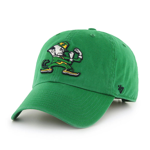 Notre Dame Fighting Irish - Logo Kelly Green Clean Up Adjustable Baseball Cap