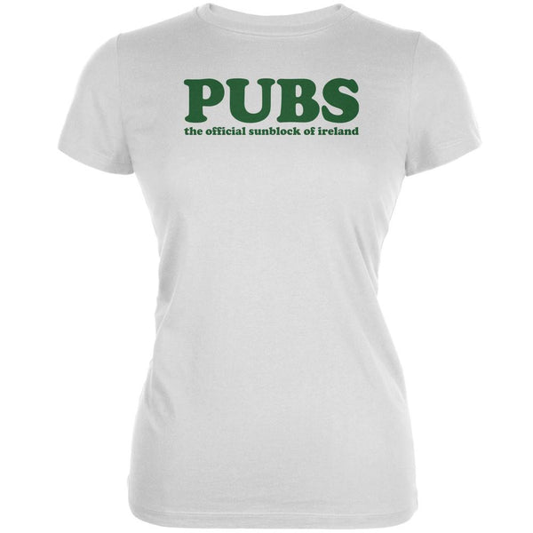 St Patricks Day Pubs Sunblock Ireland White Juniors Soft T-Shirt