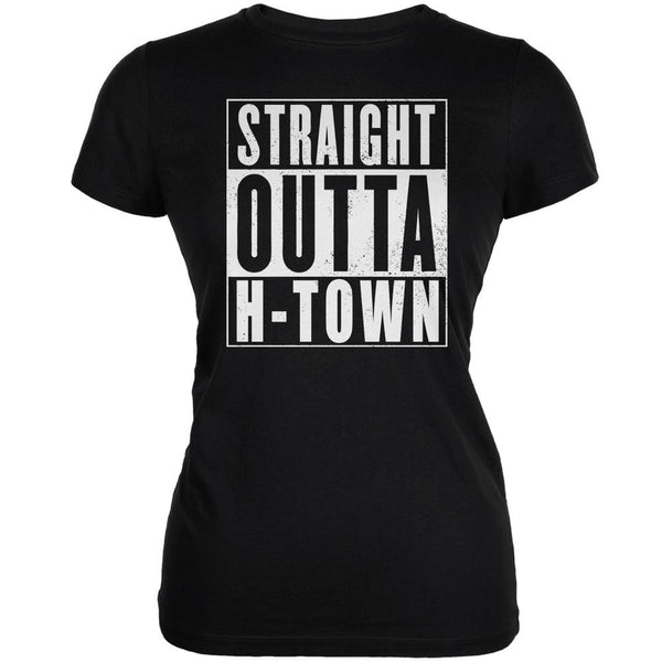 Straight Outta H-Town Black Juniors Soft T-Shirt