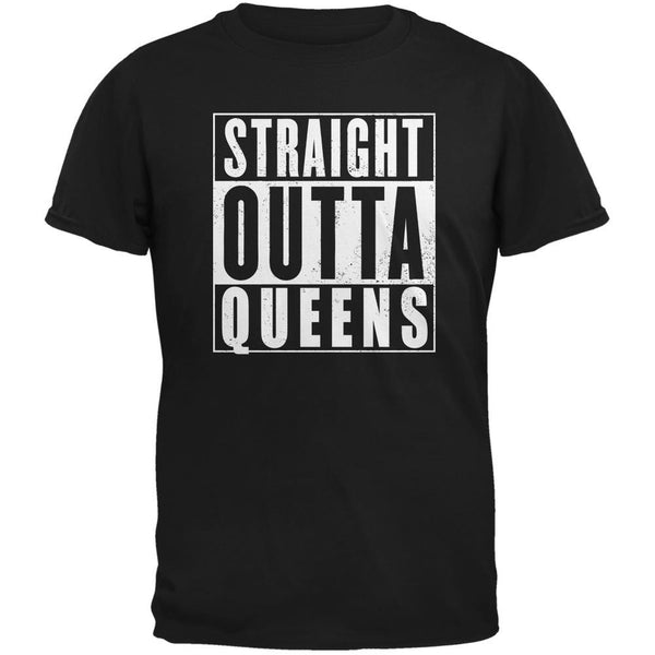 Straight Outta Queens Black Adult T-Shirt