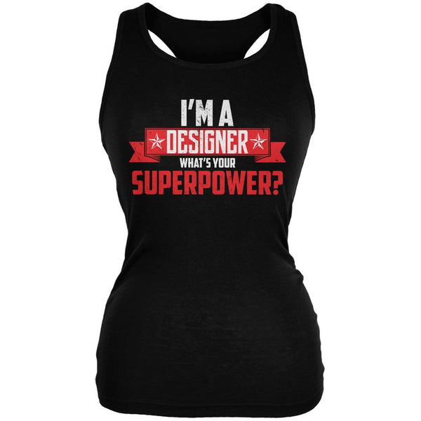I'm A Designer What's Your Superpower Black Juniors Soft Tank Top