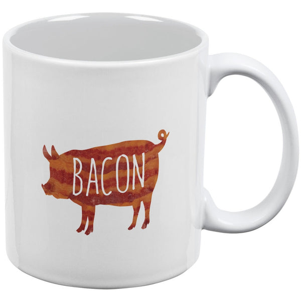 Bacon Pig Silhouette White All Over Coffee Mug