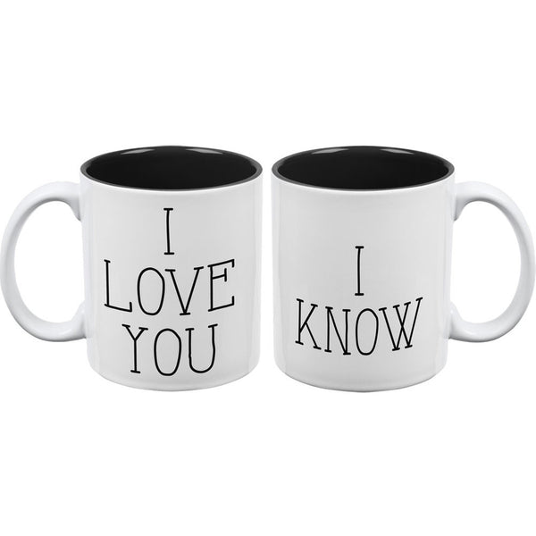 I Love You - I Know Mug White-Black All Over Coffee Mug Set Of 2