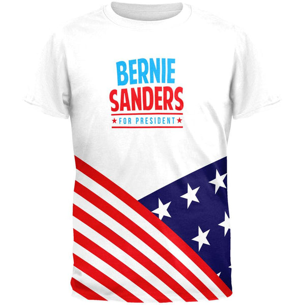 Election 2016 Bernie Sanders Curved Flag All Over Adult T-Shirt