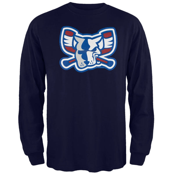 Richmond Riverdogs - Team Colors Mad Dog Logo Navy Adult Long Sleeve T-Shirt