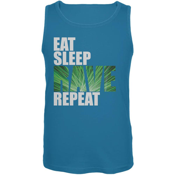 Eat Sleep Rave Repeat Turquoise Adult Tank Top