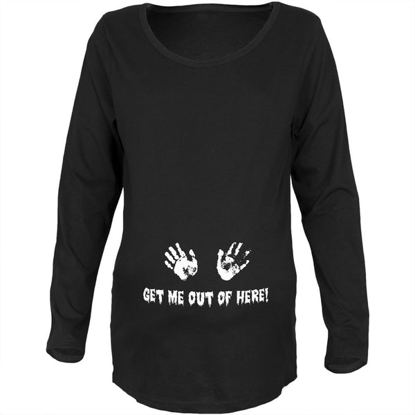 Get Me Out of Here Black Maternity Soft Long Sleeve T-Shirt