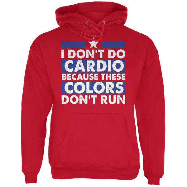 4th of July I Don't Do Cardio Red Adult Hoodie