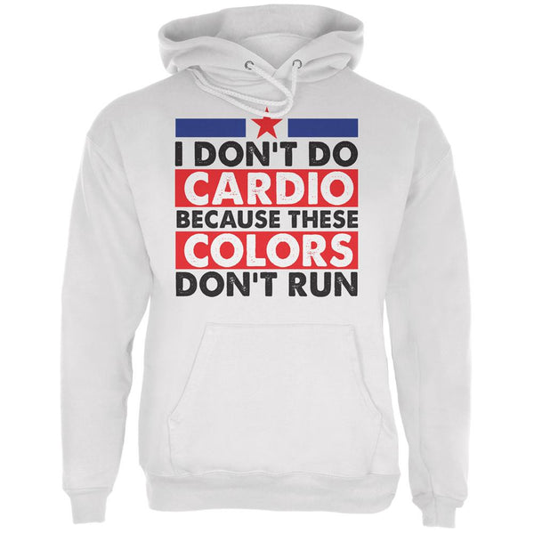 4th of July I Don't Do Cardio White Adult Hoodie