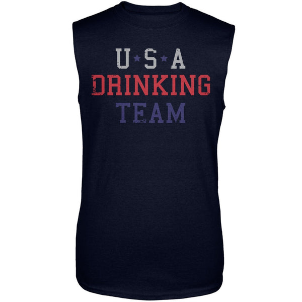 4th of July USA Drinking Team Navy Adult Sleeveless Shirt