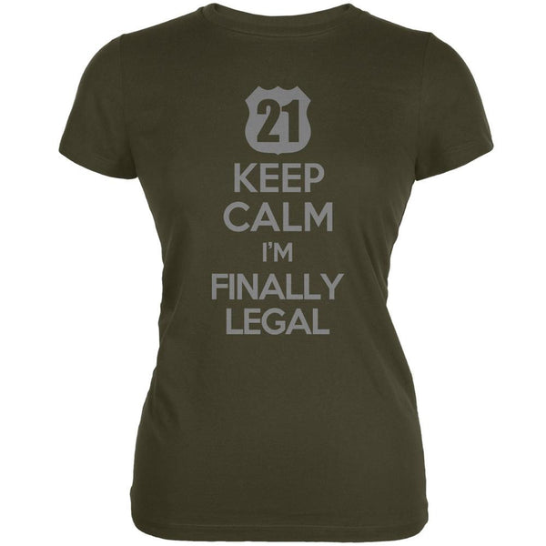 Keep Calm Finally Legal 21st Army Juniors Soft T-Shirt