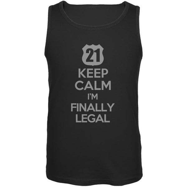 Keep Calm Finally Legal 21st Black Adult Tank Top