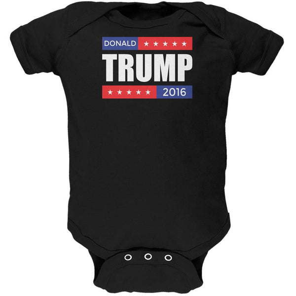 Election 2016 Donald Trump Stacked Black Soft Baby One Piece