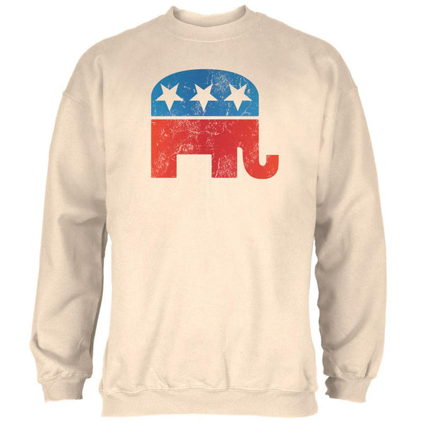 Distressed Republican Elephant Logo Natural Adult Sweatshirt