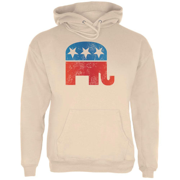 Distressed Republican Elephant Logo Sand Adult Hoodie