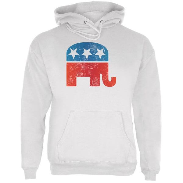 Distressed Republican Elephant Logo White Adult Hoodie