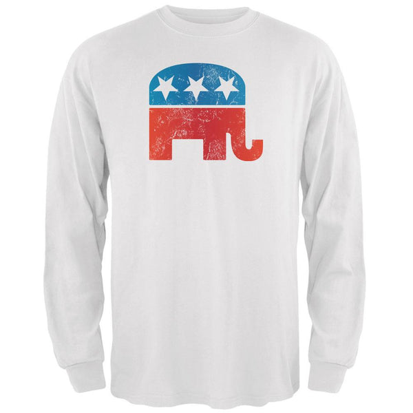 Distressed Republican Elephant Logo White Adult Long Sleeve T-Shirt