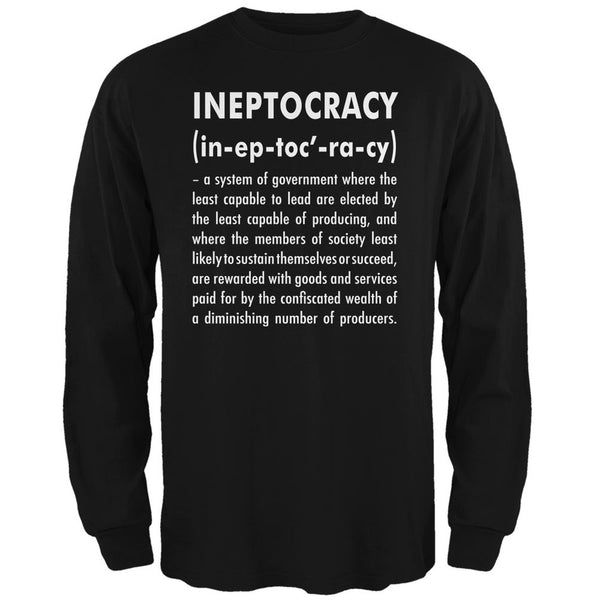 Ineptocracy Definition Black Adult Long Sleeve T-Shirt