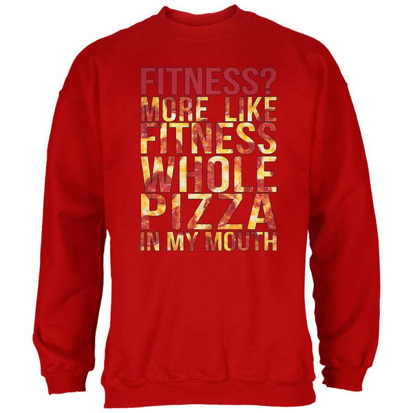 Fitness Whole Pizza In My Mouth Red Adult Sweatshirt