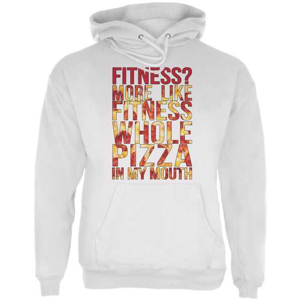 Fitness Whole Pizza In My Mouth White Adult Hoodie