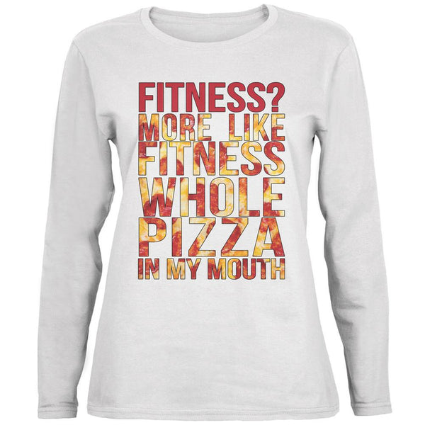 Fitness Whole Pizza In My Mouth White Womens Long Sleeve T-Shirt