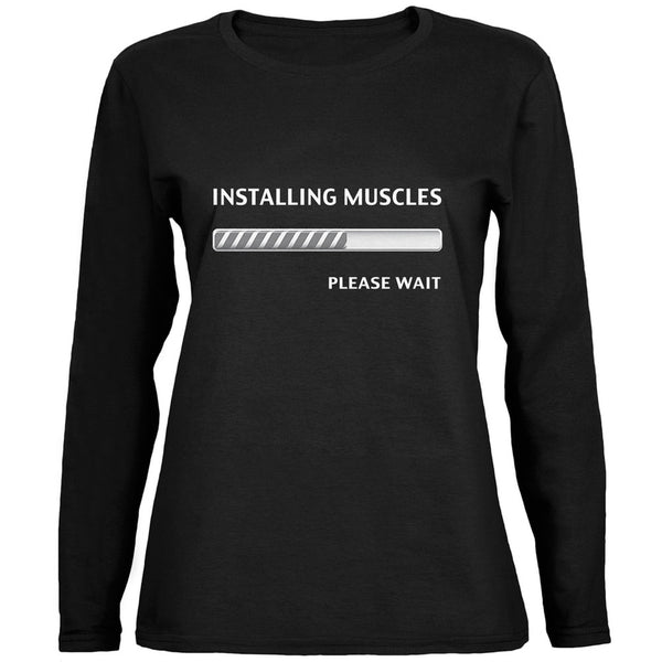 Installing Muscles Black Womens Long Sleeve T-Shirt