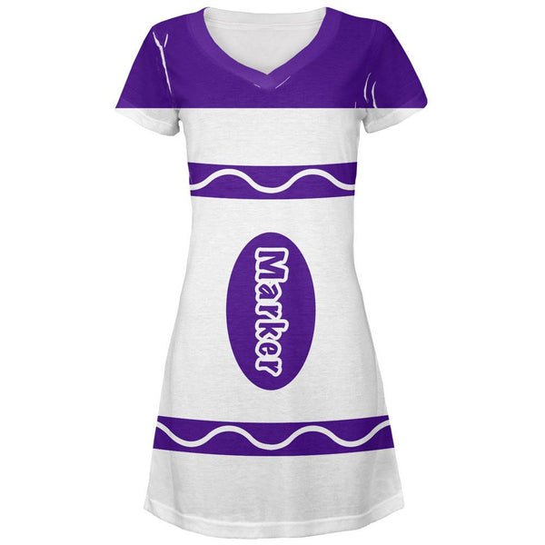 Marker Costume Purple All Over Juniors V-Neck Dress