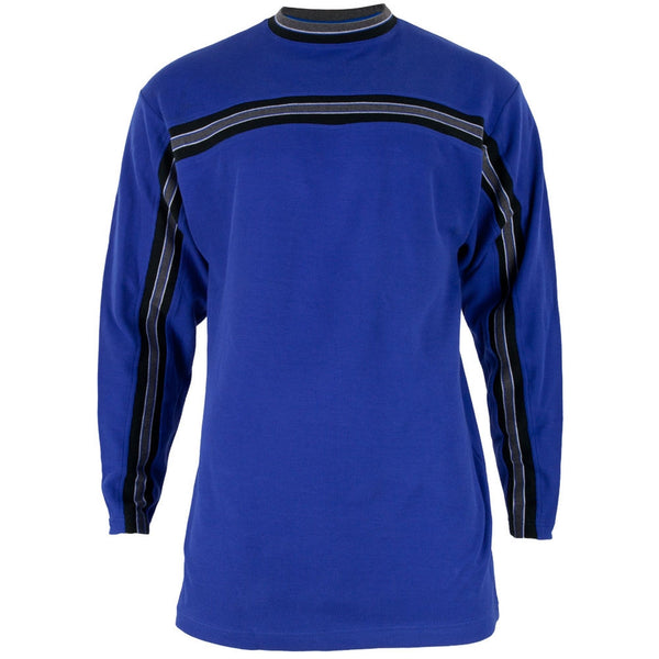 Royal Blue Striped Collar Adult Crew Sweatshirt