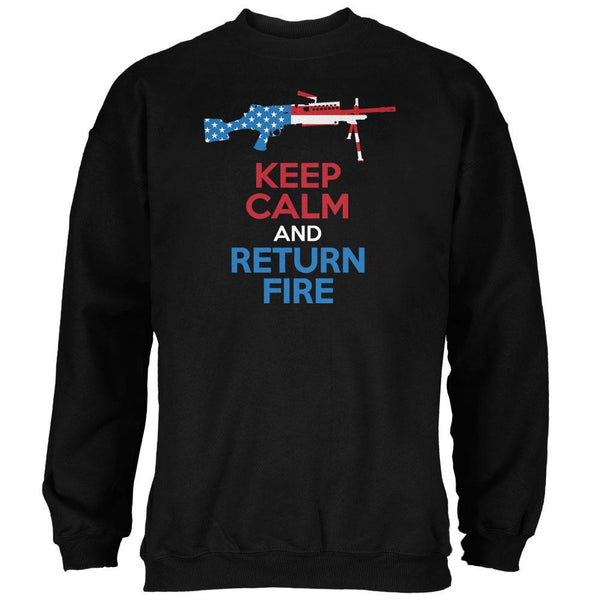 Keep Calm and Return Fire SAW Black Adult Sweatshirt