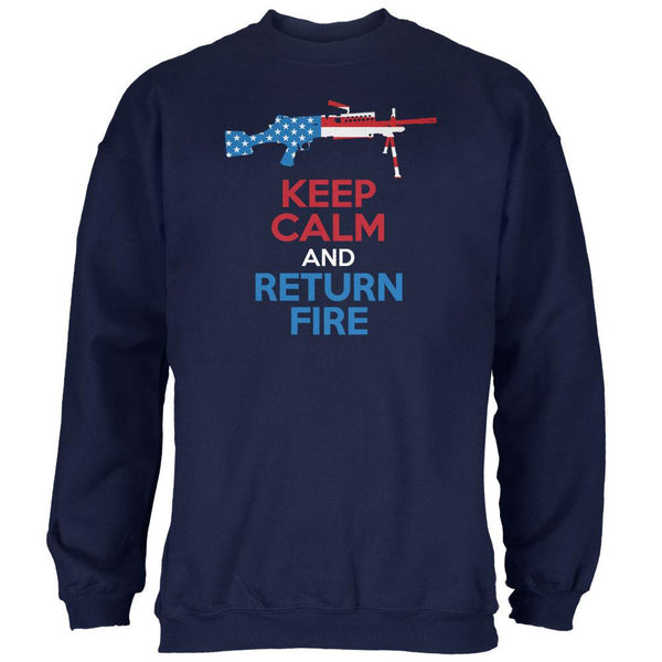 Keep Calm and Return Fire SAW Navy Adult Sweatshirt
