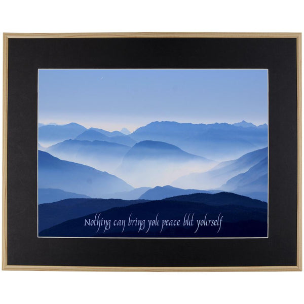 Ralph Waldo Emerson Peace Quote Wood Framed Wall Art w- Black Mat