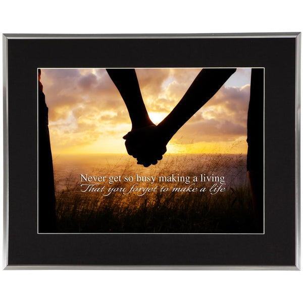 Make a Life Inspirational Quote Silver Framed Wall Art w- Black Mat