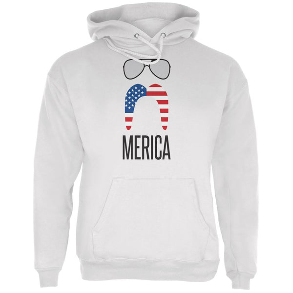 4th of July Merica Sunglasses and Mustache White Adult Hoodie