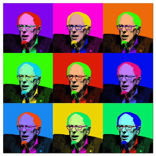 Election Bernie Sanders Pop Art Squares Rolled Canvas Wall Art