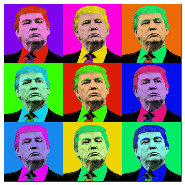 Election Donald Trump Pop Art Squares Rolled Canvas Wall Art