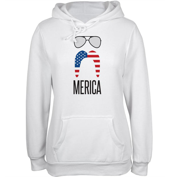 4th of July Merica Sunglasses and Mustache White Juniors Soft Hoodie
