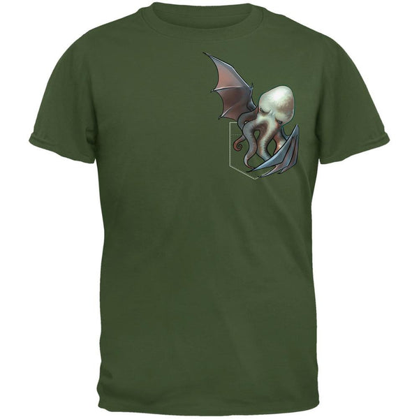Pocket Halloween Horror Cthulhu Military Green Adult T-Shirt