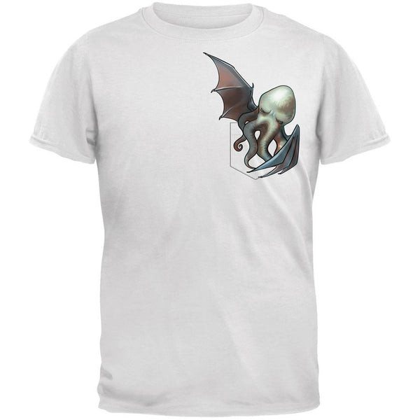 Pocket Halloween Horror Cthulhu White Adult T-Shirt