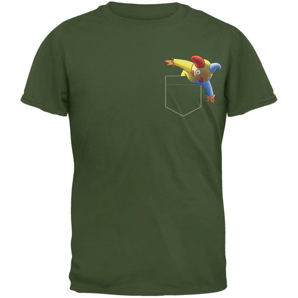 Pocket Halloween Horror Jack-In-The-Box Military Green Adult T-Shirt