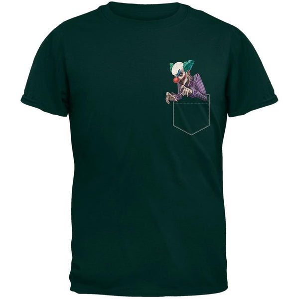 Pocket Halloween Horror Scary Clown Forest Green Adult T-Shirt