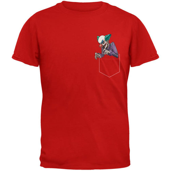 Pocket Halloween Horror Scary Clown Red Adult T-Shirt