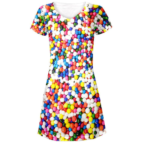 Halloween Sprinkles All Over Juniors V-Neck Dress