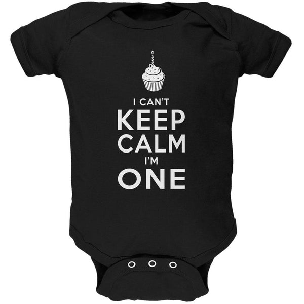 Birthday I Can't Keep Calm I'm 1 One Black Soft Baby One Piece