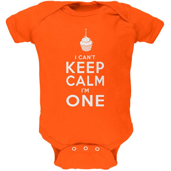 Birthday I Can't Keep Calm I'm 1 One Orange Soft Baby One Piece
