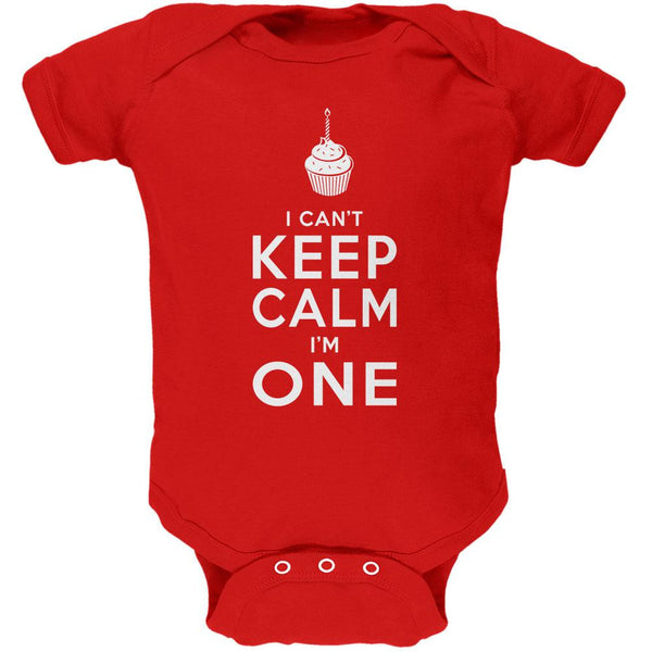 Birthday I Can't Keep Calm I'm 1 One Red Soft Baby One Piece