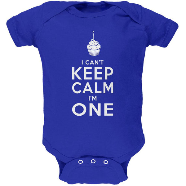 Birthday I Can't Keep Calm I'm 1 One Royal Soft Baby One Piece
