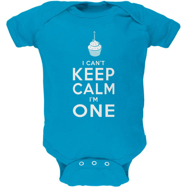Birthday I Can't Keep Calm I'm 1 One Turquoise Soft Baby One Piece