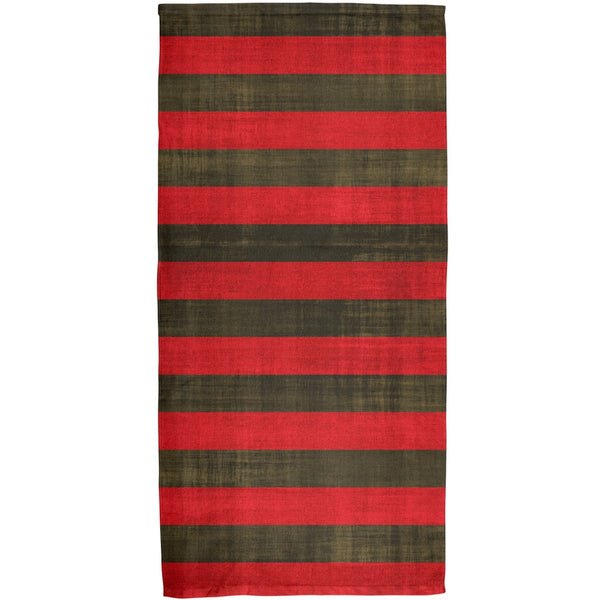 Halloween Striped and Bloody Nightmare Sweater All Over Beach Towel